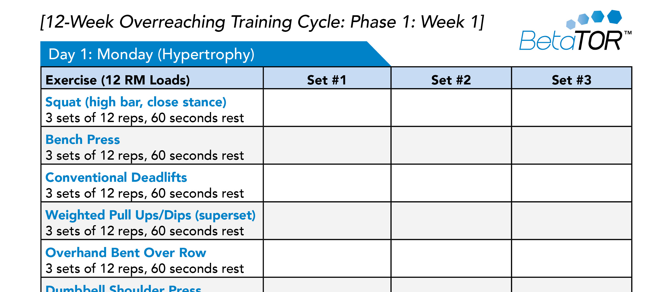 12-Week Overreaching Training Cycle: Phase 1: Week 1]